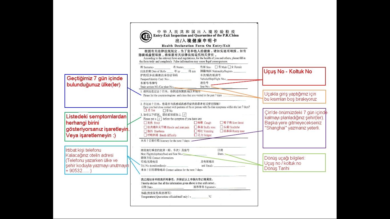 Çin Giriş/Çıkış Sağlık Bilgi Formu